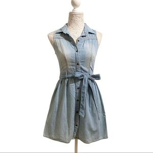 🍒2/20$ Denim Sleeveless Shirt Dress with Belt